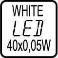 Počet LED čipov - 40x0,05W WHITE