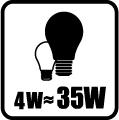 Náhrada klasickej žiarovky - 4W = 35W