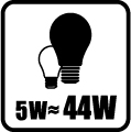 Náhrada klasickej žiarovky - 5W = 44W