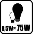 Náhrada klasickej žiarovky - 8,5W = 75W