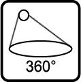 Uhol svietenia svietidla 360 stupňov