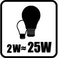 Náhrada klasickej žiarovky - 2W - 25W