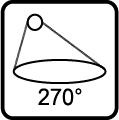 Uhol svietenia svietidla 270 stupňov