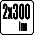 Svetelný tok v lumenoch - 2x300lm